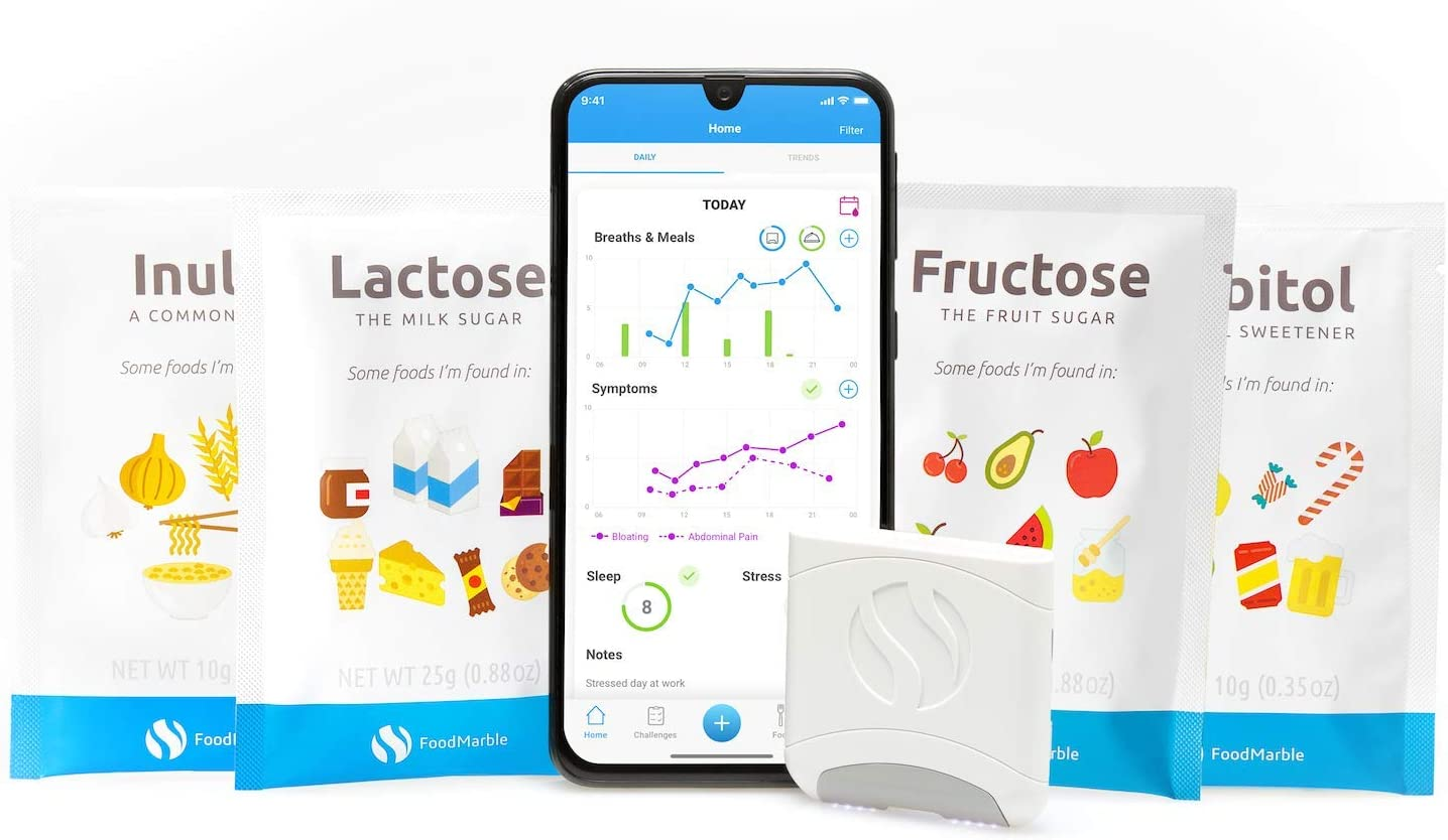 FOODMARBLE AIRE Bundle Includes FODMAP Test Kits| Personal Digestion Tracker | at Home Food Intolerance Testing: Lactose, Fructose, Sorbitol, Inulin | Easily Monitor Your Gut Health
