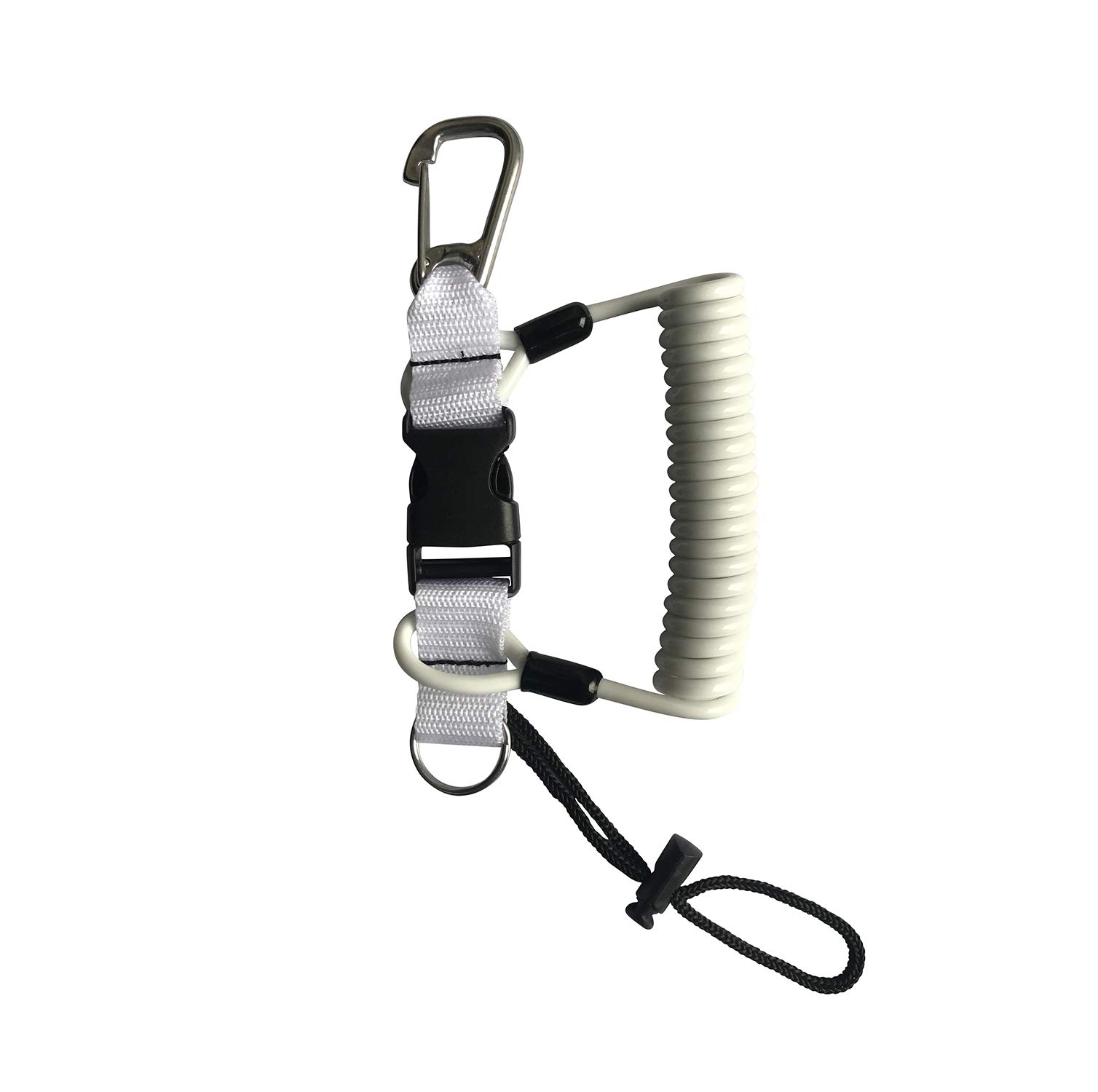 Kinno Scuba Spring Rope, Diving Lanyard Anti-Lost Spring Coiled Buckle for Diving Camera Cover Rope (White)