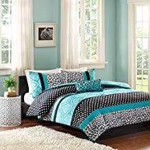 Girls Blue Teal Animal Print Comforter Bedding Set with Shams and a Pillow Includes Scented Candle Tart (full/queen)