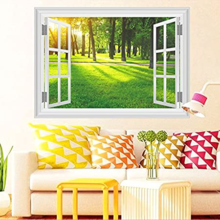 All 3D Window Nature Landscape View Wall Stickers Home Decor Living ...