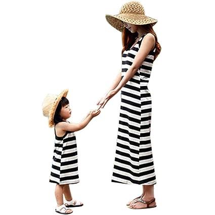 2dd8a58b273 Family Matching Clothes Outfit Mother Daughter Striped Sleeveless Sundress Summer  Beach Dress (Black