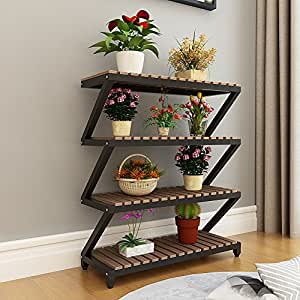 Shelves Carbonized Solid Wood Flower Balcony Balcony Flower Pots Preservative Wood Multi-storey Ladder Storage Rack Outdoor Green Plants ( Design : 9 )