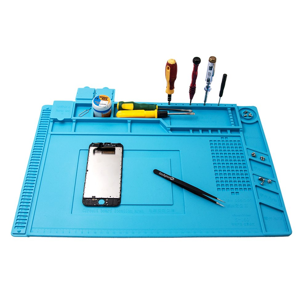 Project Mat Soldering Station Heat Insulation Silicone Pad Parts & Screws Sorting Keeping Magnetic Mat for Cell Phone Repair Computer Repair, with Free Anti-Static Tweezer (DarkCyan) by Gary&ghost (Image #2)