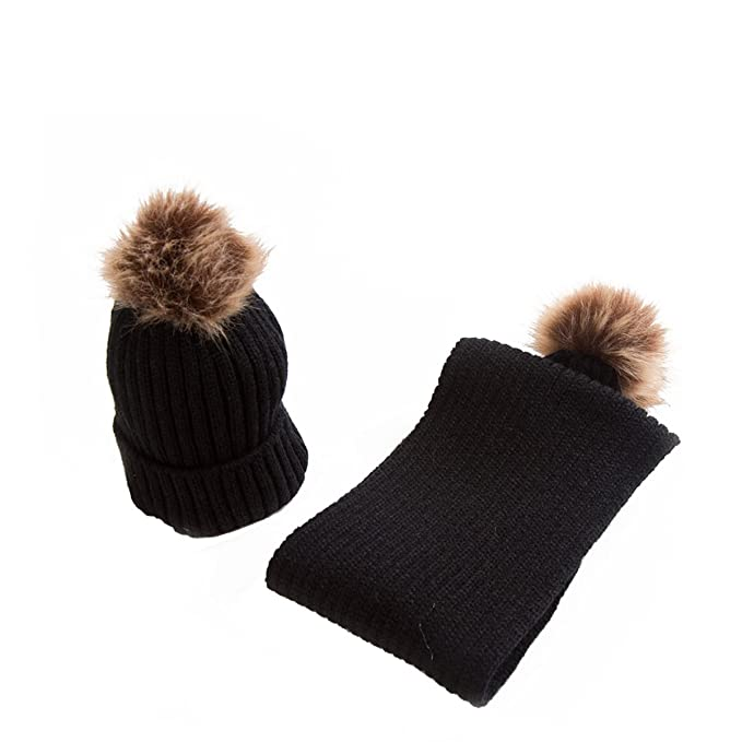 2pcs//Set Winter Toddler Baby Fur Pom Ball Knit Beanie Cap Ski Hat+Pom Scarf 0-2T