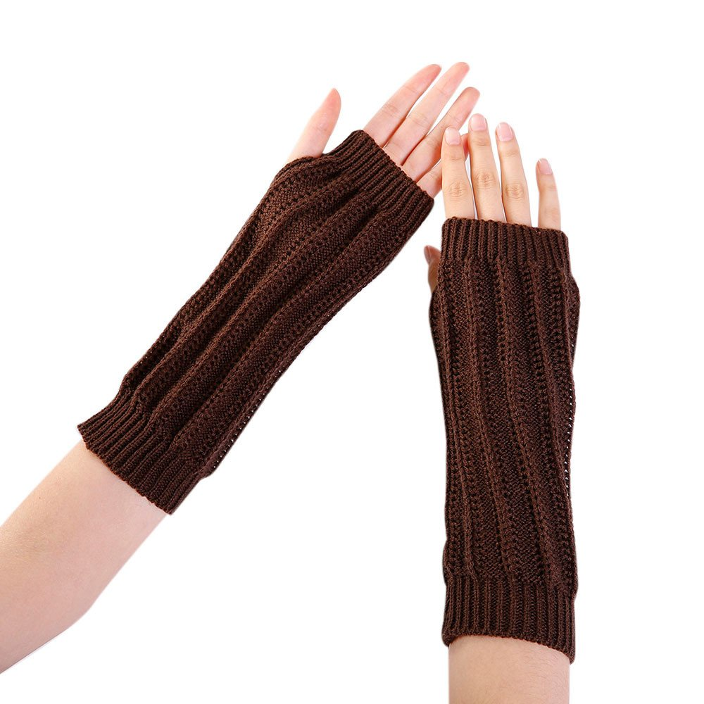 Women Winter Warm Fingerless Knitted Long Gloves Mitten Wrist Arm Hand Warmer Crochet Thumbhole Knit Wrist Warmers