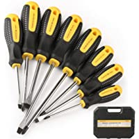 $24 » HARVET Professional 8PCS Magnetic Cushion Grip Screwdriver Set with Case, Slotted and Phillips…