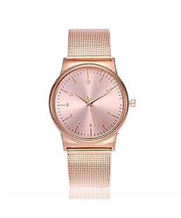 Funique Students Girl Simple Dial Mesh Band Wrist Watch Analog Quartz Bracelet Watch Rose Gold Color 23cm