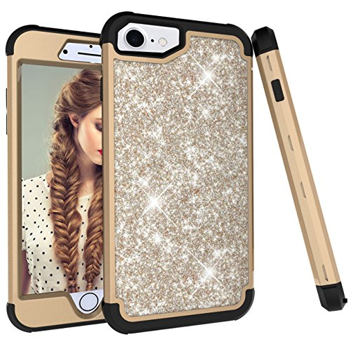 iPhone 8 Case,iPhone 7 case, Ankoe 3D Luxury Glitter Sparkle Bling Shiny Hybrid Sturdy Armor Defender High Impact Shockproof Protective Cover Case for iPhone 7 iPhone 8 (Gold Black) (Plate Green Accent 9')