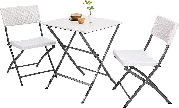 RFIVER Conjunto de Muebles Plegables Incluye 1 Mesa y 2 Sillas ...