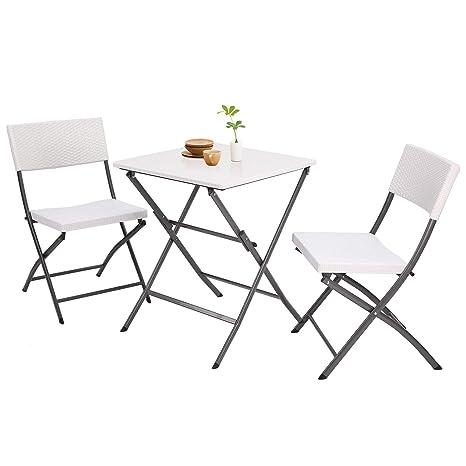 RFIVER Conjunto de Muebles Plegables Incluye 1 Mesa y 2 Sillas Hecho de PE de Color Blanco para Jardín, Patio, Terraza CH1005