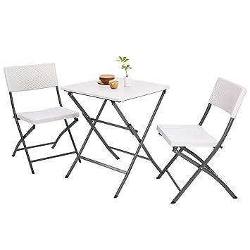 RFIVER Salon de Jardin Extérieures Pliant Style Bistrot avec 2 Chaises et 1  Table de Patio Pliable en PE pour Meubles en Rotin - Gris CH1005