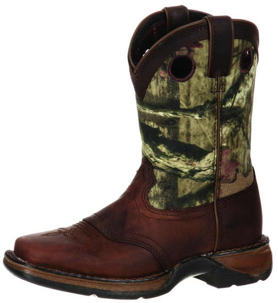 Durango Kids Distressed Brown With Camo Top Square Toe Western Boots