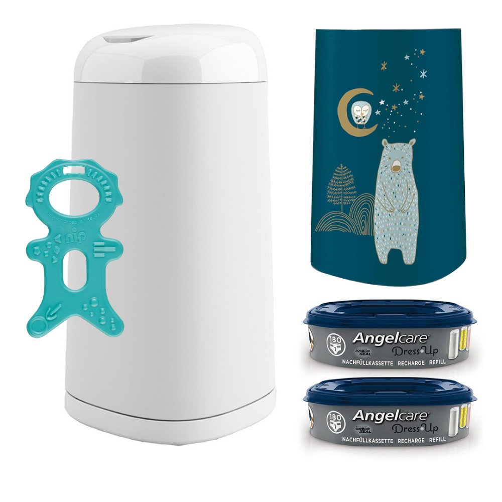 Angelcare® Dress-Up Starter-Set: Windeleimer + 2 Nachfüllkassette + Dress-Up Bezug Snow Bear