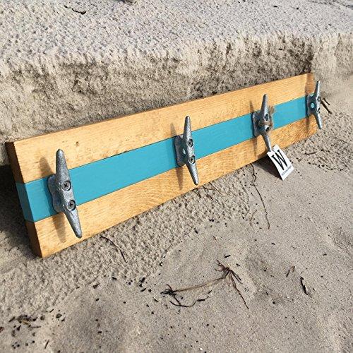 Cottage Towel Rack (Nautical Boat Cleat Coat Rack, Towel Rack, or Hat Rack, Teal and Natural Pine)
