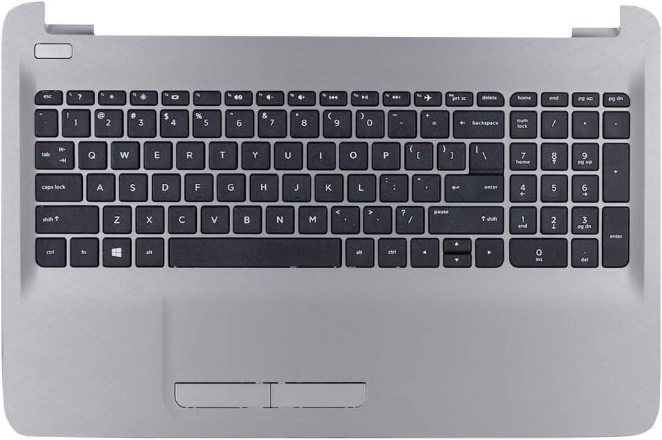 Eathtek Replacement Top Cover Palmrest Upper Case with Touchpad and Keyboard Silver for HP 15-AC 15-AF 15AF 15-AF130NR Series, Compatible Part Number 813975-001 8K165N AP1EM000332
