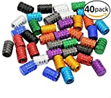 Domain Cycling 40pcs Schrader Tire Valve Caps, Knurled Multi-Color Anodized Machined Aluminum Alloy Bicycle Bike Tire Valve Caps Dust Covers