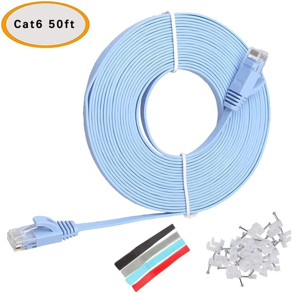 Network LAN /& Patch Cable transfers 10 Gigabit Internet Speed /& Compatible with Gigabit Networks, Switches, Routers, Modems with RJ45 Port Relper-Lineso 25 feet 2pack Flat Ethernet Cable