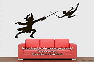 New Peter Pan Captain Hook Wall Decals Peter Pan is Battling Captain Hook Stickers Decorative Design Ideas for Your Home or Office Walls Removable Vinyl Murals EC-0550