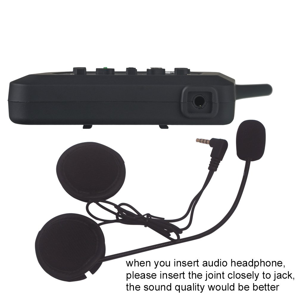 Evary Motorcycle Bluetooth Headset Intercom with Universal Microphone Kit Range 1200m with 8 Hours Talk Time for Motorcycles Scooters or 2 More Aspects Communication (Single)
