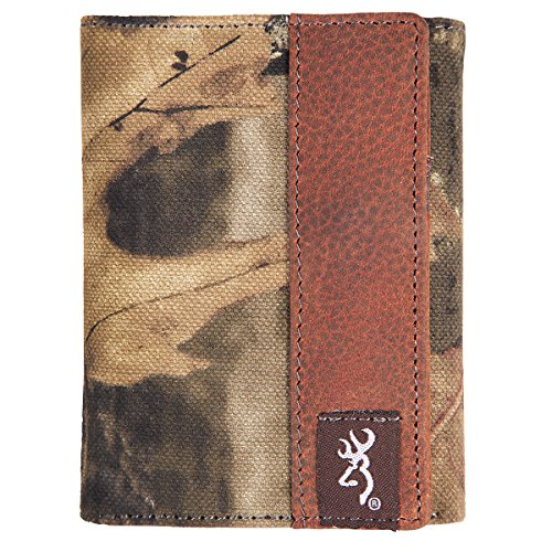 Browning Men's Tri-Fold Camo Wallet (Mossy Oak Infinity Camo, Rugged Cotton Canvas Fabric, Distressed Full-Grain Leather, 6 Card Pockets, 1 Clear ID Window, 2 Side Pockets, 1 Currency Pocket, Closed Size: 4.25