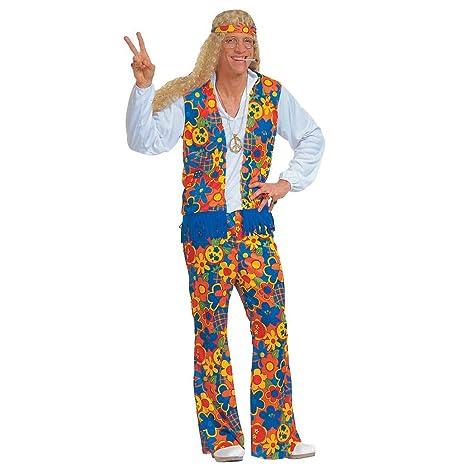 NET TOYS Costume maschile da hippie uomo tagliatravestimento Carnevale  vestito da figli dei fiori flower power 4e24c7c89c8