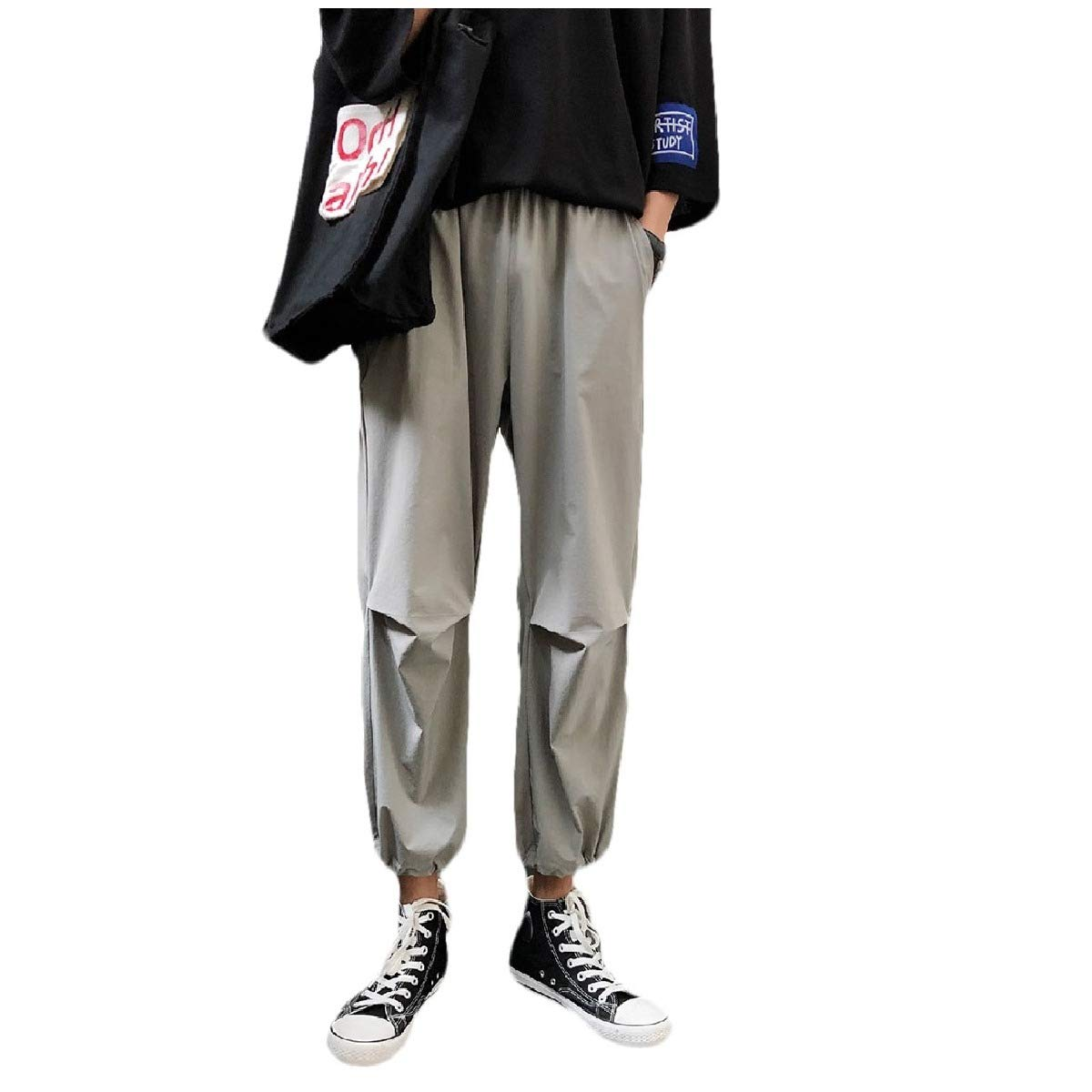RDHOPE-Men Lightweight Loose Fit Elastic Waist Beam Foot Trousers Pants