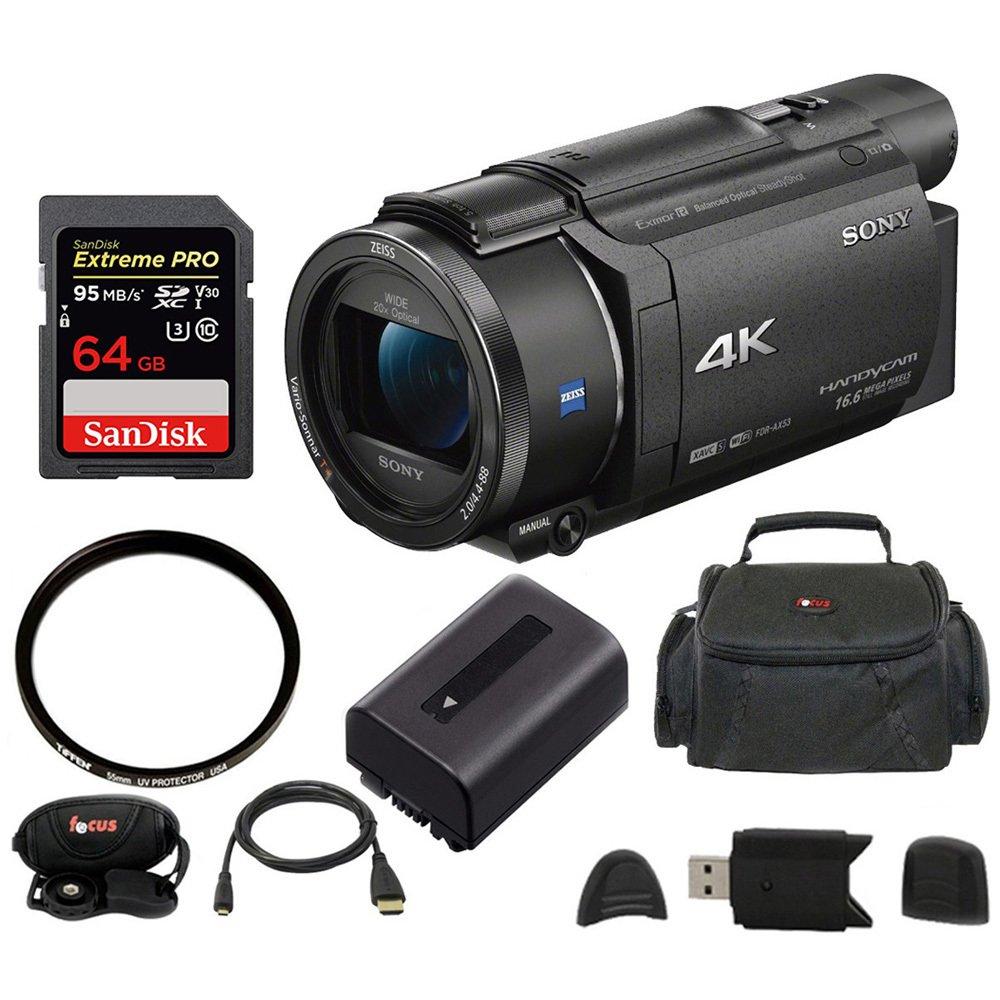 Sony FDR-AX53 UHD 4K Handycam Camcorder (Base Bundle)