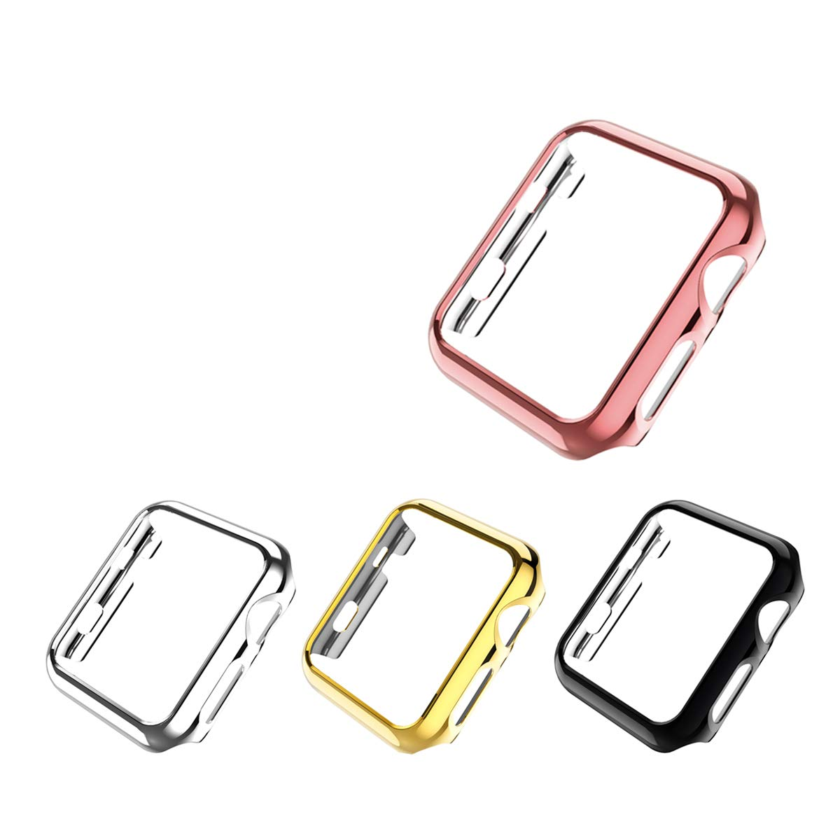 Leotop Compatible with Apple Watch Case 44mm 40mm, Super Thin PC Plated Bumper Protector Shiny Cover Lightweight Slim Shell Shockproof Frame Accessories Compatible iWatch Series 4 (4 Color Pack, 44mm)