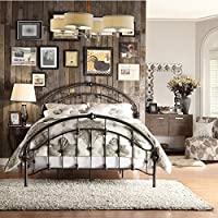 Lacey Round Curved Double Top Arches Victorian Iron Metal Bed (Queen, Bronze)