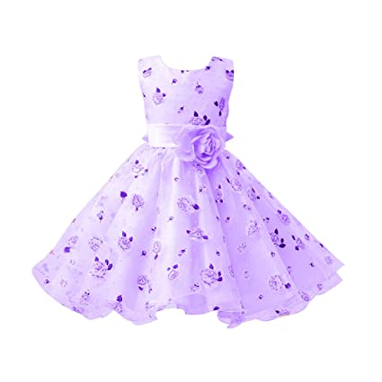 Kids Girls Printed Flower Tulle Belted Dress Purple 100