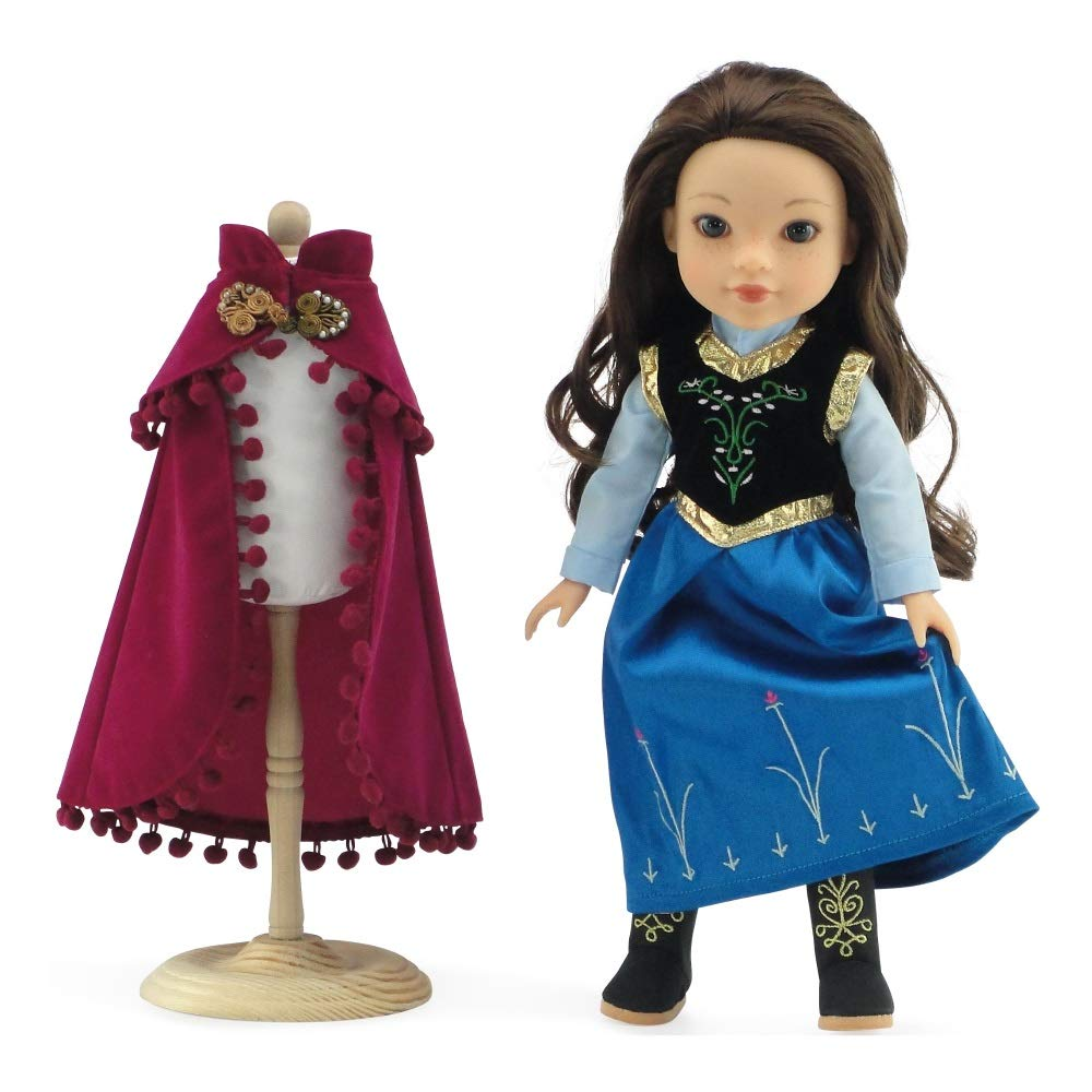 Fits 14 American Girl Wellie Wishers and Glitter Girls Dolls Princess Anna Frozen Inspired Dress with Embroidered Boots Emily Rose 14 Inch Doll Clothes