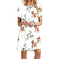 YMING Women's Casual Short Sleeve Multicolor Loose T-Shirt Dress XS-4XL