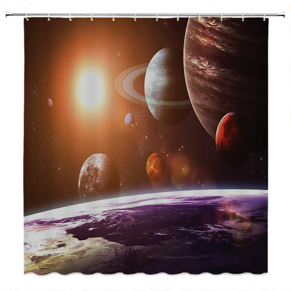 SATVSHOP European Style Bathroom Decoration-Durable Waterproof Fabric-Galaxy Space Theme View of The Planets from Earth Science Art with Sun and Moon Magenta Orange.W72 x L90 inch