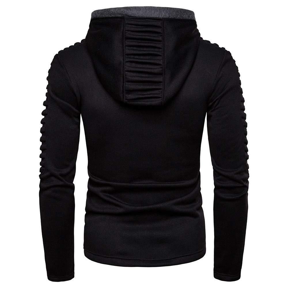 ThePass Men Hoodie Top Slim Fit Raglan Long Sleeve Splicing Autumn Winter Pleats Blouse