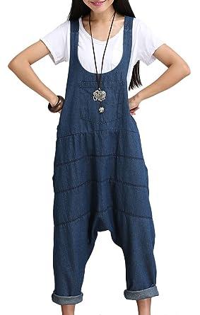 90101f6108f7 IDEALSANXUN Women s Haren Denim Long Wide Leg Bib Overalls Jumpsuits Baggy Pants  Plus Size Blue (