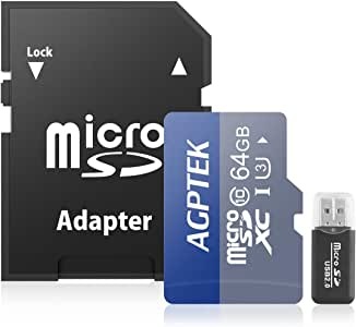 AGPTEK 64GB Class 10 Micro SD Card with Card Reader,Compatible with AGPTEK/ONEUPT/Cewaal/Sylvania/Auveach/AWAkingdemi MP3 Player, Android Smartphones,Tablets,Interchangeable-Lens Cameras