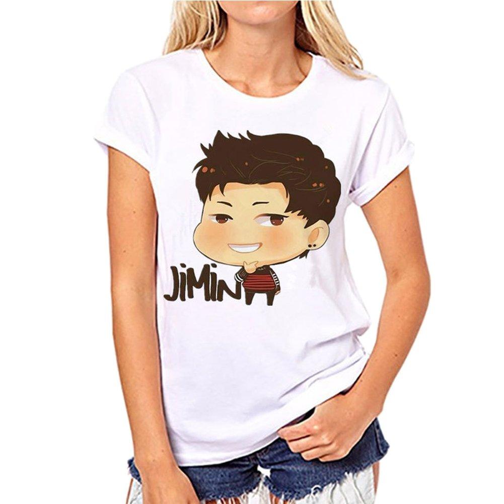 Kpop BTS Cartoon BT21 T-Shirt Bangtan Boys BTS Stripe Printed Top SUGA Jin Jimin Jung Kook J-Hope Rap-Monster V