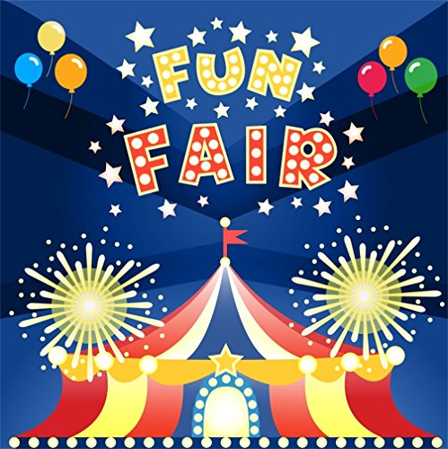CSFOTO 6x6ft Background for Fun Fair Playground Photography Backdrop Circus Troupe Children Birthday Party Happy Birthday Bash Celebration Balloon Child Kid Photo Studio Props Vinyl Wallpaper