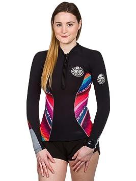 RIP CURL Womens 1MM G-Bomb Long Sleeve Neo Jacket Coat Black Grey ... 9ac8fdb21