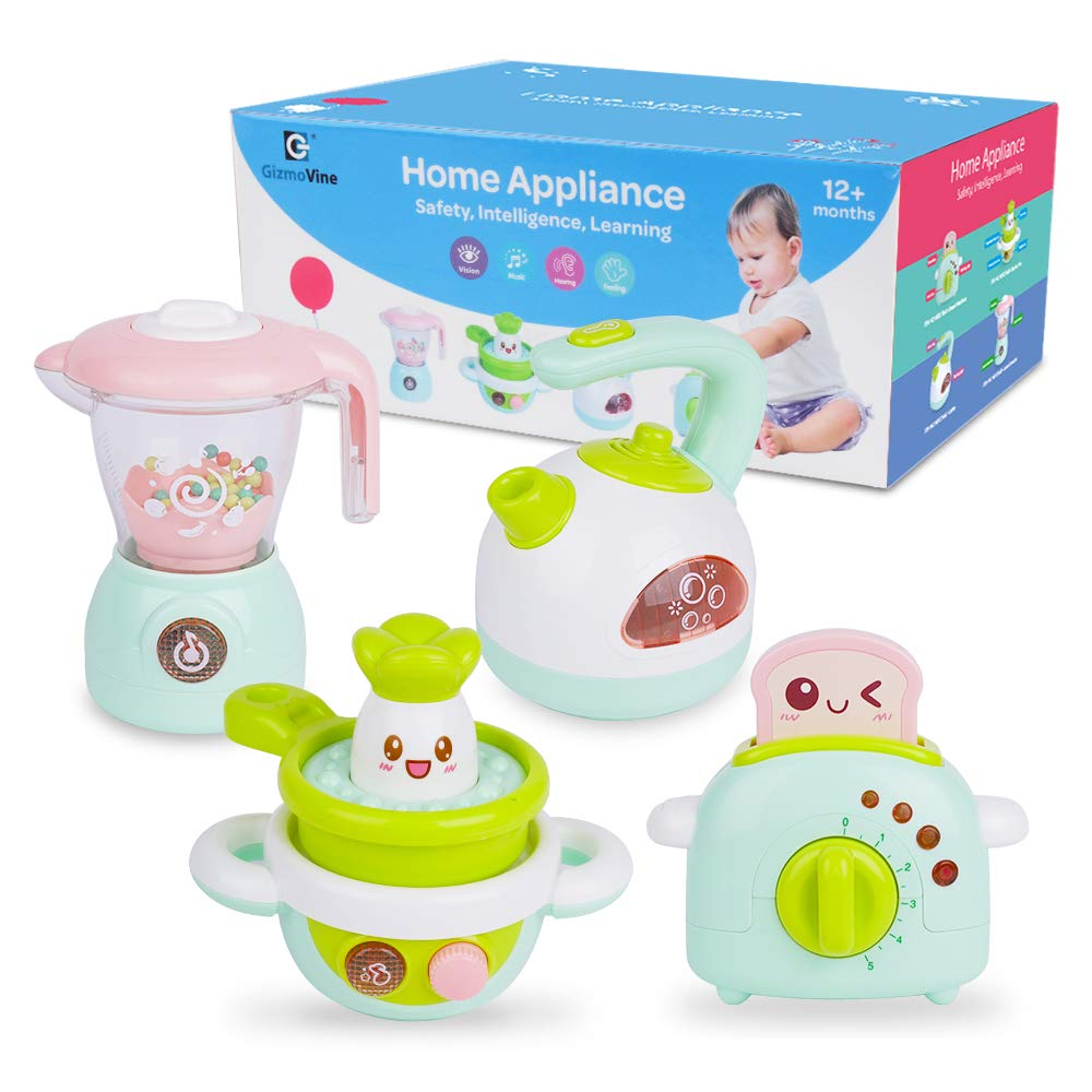 Gizmovine Play Kitchen Accessories, 4PCs Mini Simulation Kitchen Toys for Kids Cooking Set Pretend Play Home Kitchen Appliances for Girls Kids Toddler