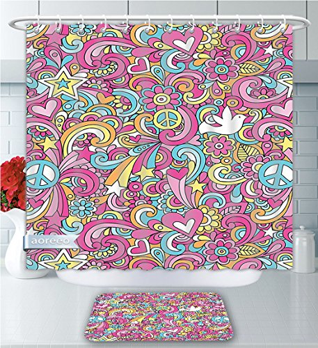 Aoreeo Bathroom Two-Piece Set ions Collection Psychedelic Groovy Peace Notebook Doodle Style Doves Education Swirly Starburst Image Pink Bl Shower Curtain Bath Rug Set, 71