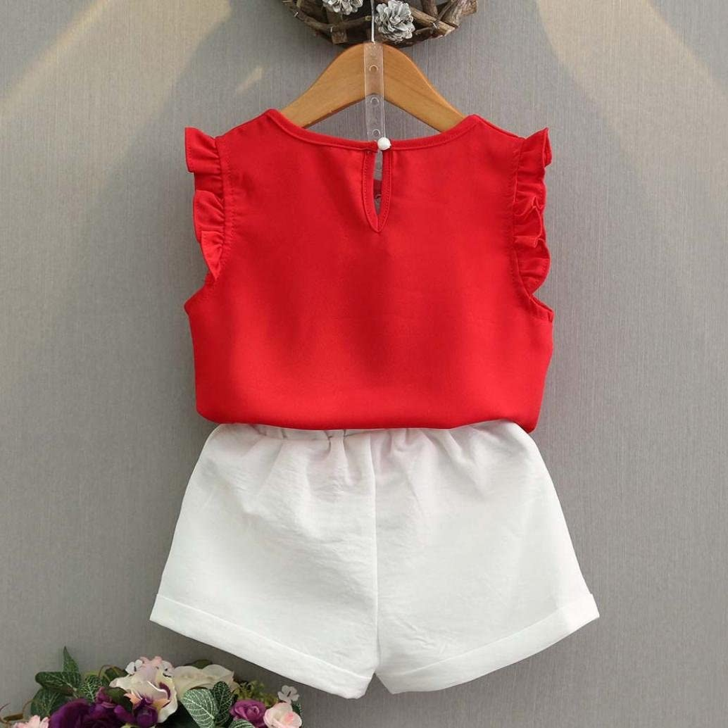 Fineser 2PCS Little Girls Shorts Sets Outfits Summer Clothes Flower Embroidered Sleeveless Front Cross Tops+Shorts Casual