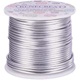 BENECREAT 12 Guage(2mm) Aluminum Wire 100FT(30m) Anodized Jewelry Craft Making Beading Floral Colored Aluminum Craft Wire - Silver