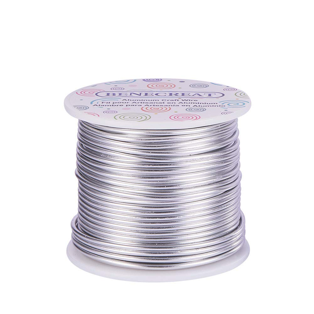 BENECREAT 12 17 18 Gauge Aluminum Wire (12 Gauge,100FT) Anodized Jewelry Craft Making Beading Floral Colored Aluminum Craft Wire - Silver by BENECREAT
