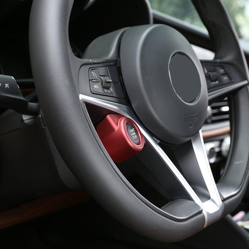 Rouge pour Giulia Stelvio 2017/2018/Plastique ABS de voiture Moteur Start Stop Coque Trim Accessoires Main gauche du pilote