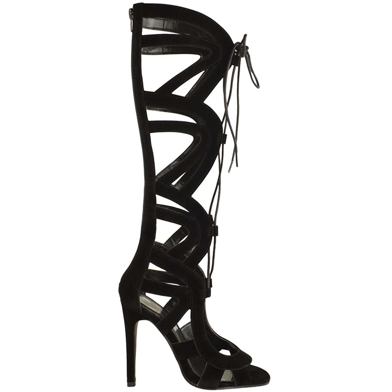 254f6b13cd1 LADIES WOMENS KNEE HIGH LACE UP CUT OUT SHOES HEELS GLADIATOR .