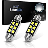 "SiriusLED 2835 Chip Super Bright Canbus Error Free LED Bulbs for Interior Car Lights License Plate Dome Map Side Marker Door Courtesy 1.50"" 36MM Festoon 6418 6000K Xenon White"