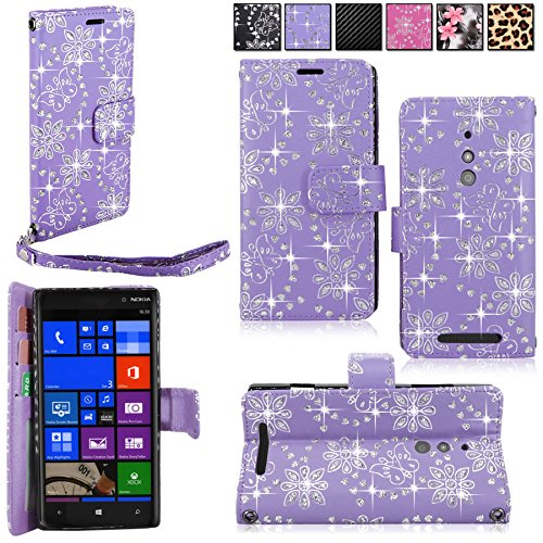 Lumia 830 Case - Cellularvilla Wallet Pu Leather Flip Folio Stand Case Cover Pouch With Card Slots and Detachable Wrist Strap For Nokia Lumia 830 (Purple Glitter)