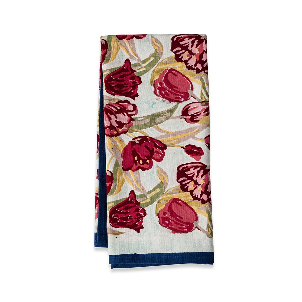 Couleur Nature 20-inches by 30-inches Tulips TeaTowels, Turquoise/Navy, Set of 3 by Couleur Nature