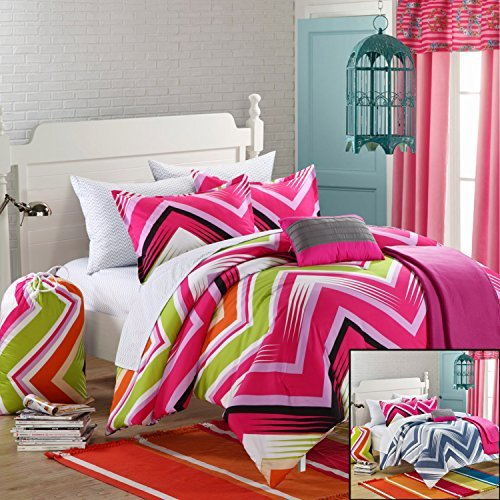 Chic Home 10-Piece Ziggy Zag Comforter Set with Shams Decorative Pillows and Sheet Set, Full, Fuchsia
